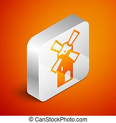 Isometric Windmill icon isolated on orange background. Silver square button. Vector