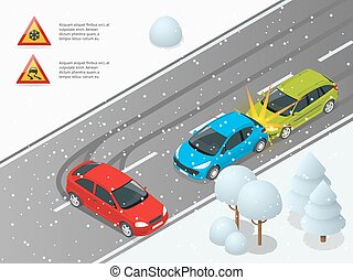 Isometric winter slippery road, car accident. The car rides...