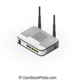 This image is a external modem router with two antenna vector illustration