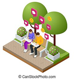 Isometric woman and man typing on laptop. Live Chat. Sms messages and Speech bubbles. Short message service bubbles. Flat vector illustration