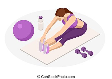 Isometric Woman doing fitness and yoga exercises. Online fitness and training concept.