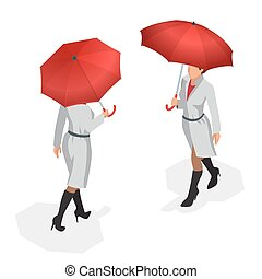 Isometric woman in autumn clothes with a red umbrella. Season autumn. Vector Flat 3d illustration.