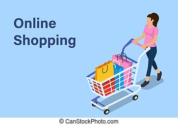 Isometric woman with shopping cart.