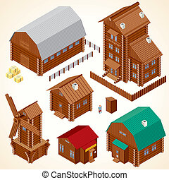 Isometric Wood House. Rural Houses and Log Cabins