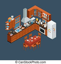 isometric wooden kitchen interior and utensils tools