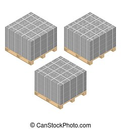 Isometric wooden pallet with cinder blocks, vector illustration.
