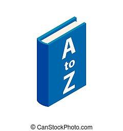 isometric, woordenboek, stijl, boek, pictogram, 3d