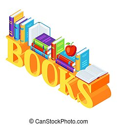 Isometric word with books.