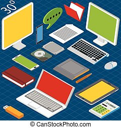 Isometric workplace with a laptop, desktop, smartphones, tablets, calculators, notebooks, hard drives and graphics tablet