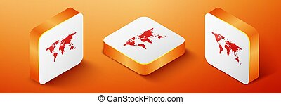 Isometric World map icon isolated on orange background. Orange square button. Vector