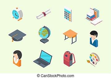 isometric, wykształcenie, ikony