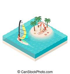 isometric, wyspa, ilustracja, tropikalny, wektor, morze, windsurfer.