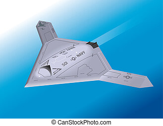 Isometric X-47B airborne - Detailed Isometric View of an...