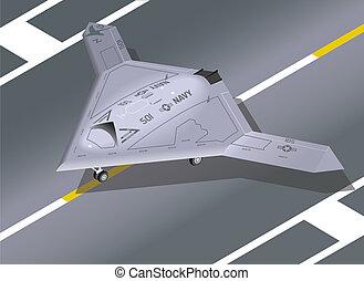Isometric X-47B on the ground