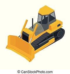 Isometric Yellow Bulldozer excavator, isolated on white background. Vector illustration bulldozer icon