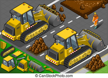 Isometric Yellow Bulldozer in Rear View - Detailed...