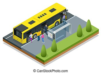 Isometric yellow City Bus at a bus stop. People get in and out of the bus. Public transport with driver and people.
