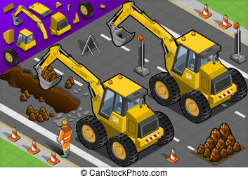 Isometric Yellow Excavator in Rear View - Detailed...