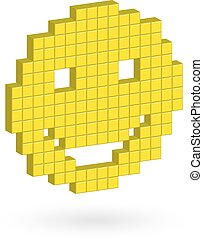 Isometric  yellow laughing happy smiley face.
