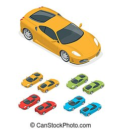 Isometric Yellow sports car