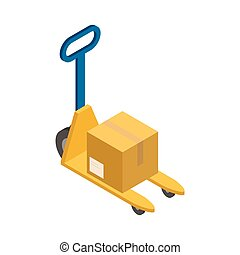 Isometric yellow stacker with cardboard delivery box
