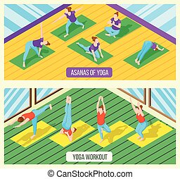Isometric Yoga Banners - Isometric horizontal banners set...