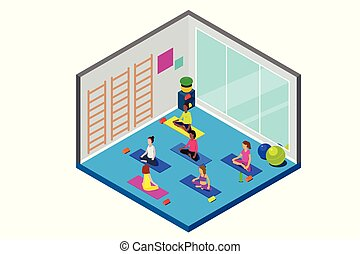 Isometric Yoga Class Illustration