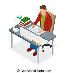 Isometric young people and student concept. A teenager of...