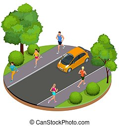 Isometric young woman and man runners running on a city park. Sportive people training in an urban area, healthy lifestyle and sports concepts.