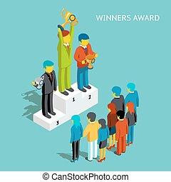 isometric, zakenlui, succesvolle , toewijzen, vector, koppen, illustratie, winners., 3d