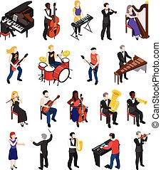 isometric, zeneértők, emberek