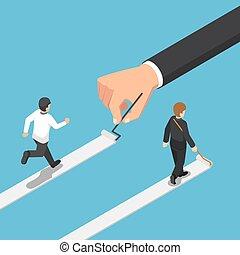isometric, zijn, succes, verf , eigen, zakenman, steegjes