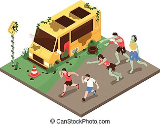Isometric Zombie Attack Composition