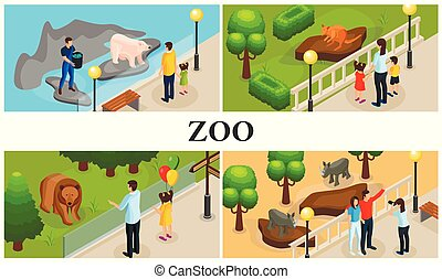 Isometric Zoo Animals Colorful Composition