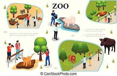 Isometric Zoo Colorful Composition