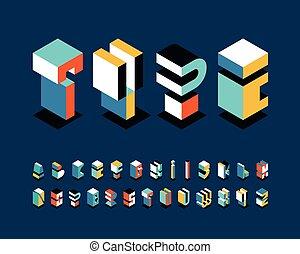 Isometrical english alphabet, bright shapes' graphical decorative type.