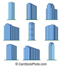 IsometricBuildings-45 - Set of nine modern high-rise...