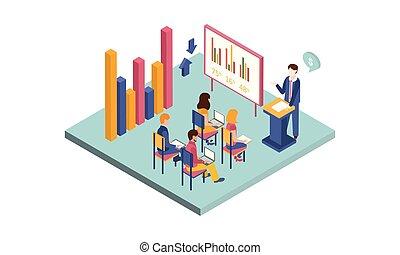 isometrico, affari, seduta, persone, graph., illustrazione, laptops, vettore, libri, presentare, conference., uomo