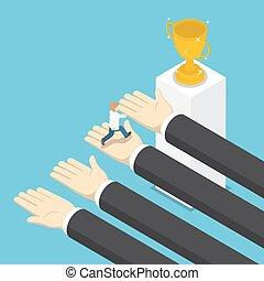 isometrico, aiuto, successo, grande, mani, uomo affari
