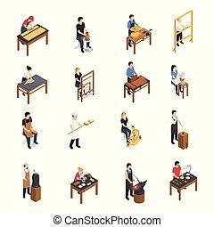 isometrico, artigiano, set, persone