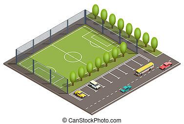 isometrico, automobile, football, vettore, campo, parcheggio, 3d