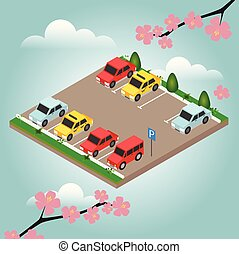 isometrico, automobili, automobile, parking., primavera, time., città, parcheggio, vettore, web, bandiera, isometrico, appartamento, vettore, style., appartamento, 3d, isometrico, urbano, città, infographic, concept.