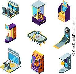 isometrico, bambini, machines., arcata, parco, guidare, automat, flipper, gioco, vettore, divertimento, da corsa, divertimento