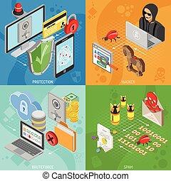 isometrico, bandiere, quadrato, sicurezza, internet