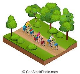 isometrico, bicicletta, travel., motociclisti, borsa, viaggiante
