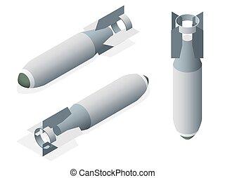 isometrico, bomba aerea, su, uno, bianco, isolato, fondo