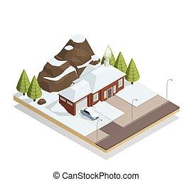 isometrico, bungalow, paesaggio inverno, composizione