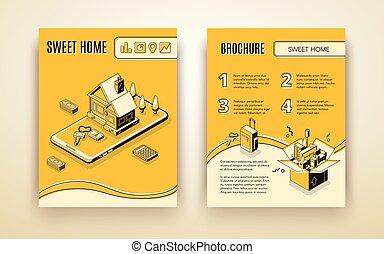 isometrico, casa, vettore, spostamento, sagoma, opuscolo