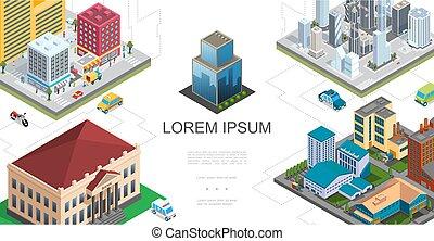 isometrico, città, paesaggio, composizione