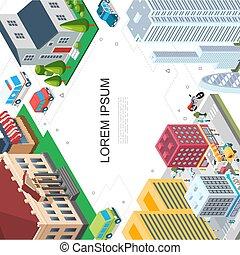 isometrico, cityscape, colorito, sagoma
